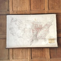Antique Railroad Mileage Map of the United States, USA Pull Down Map, Pull Down Chart, Railroad Map