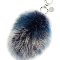 Rebecca Minkoff Fox-Fur Tail Charm for Handbag, Blue/Multi