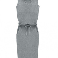 Gray Sleeveless Waist Tie and Side Pocket Tunic Midi Dress