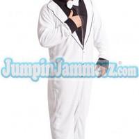 White Tuxedo - Footed Pajamas - Pajamas Footie PJs Onesuit One Piece Adult Pajamas - JumpinJammerz.com