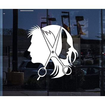 Window Sign for Business and Wall Decal Hairdresser Stylist Hair Salon Unisex Stickers Mural Unique Gift (ig3677w)