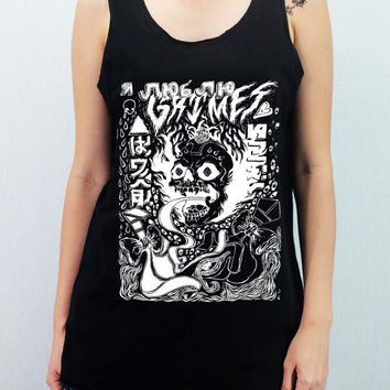 GRIMES Canadian Musician Shirt Softly/Lightly Tank Top TShirt Top Unisex - silk screen handmade