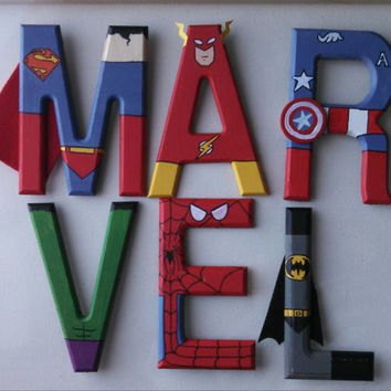 "Hand-painted 5.5"" tall wood letters Marvel and DC Superheroes"