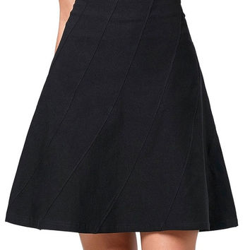 New Multi Panel Scallop Seam High Stretchy A-Line Black Dark Grey Skirt Rockabilly 50s Bridal Retro Vintage Women Office Gown