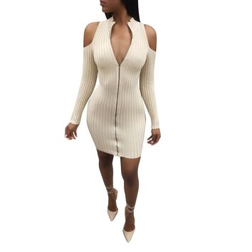 Zipped Up Bodycon Dress with Cut Out Shoulder
