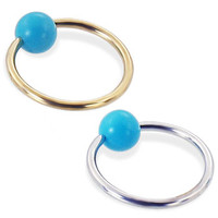 14K real gold Captive Ring with Turquoise ball