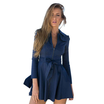 Bow Tie Zipper-Up Sleeve Dress Coat