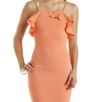 Blush Racer Front Ruffle Bodycon Dress by Charlotte Russe