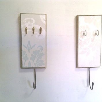 key holder - wall mounted - off white and duck egg blue