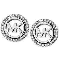 Michael Kors Silver-Tone MK Pavé Stud Clip-On Earrings