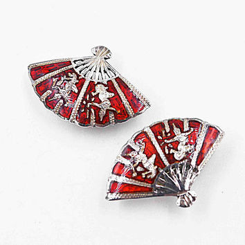 Vintage Siam Sterling Silver Fan Clip Earrings, Red Enamel, Lightening & Thunder, Mekkala, Ramasoon, Siam Gods, So Beautiful! #c192