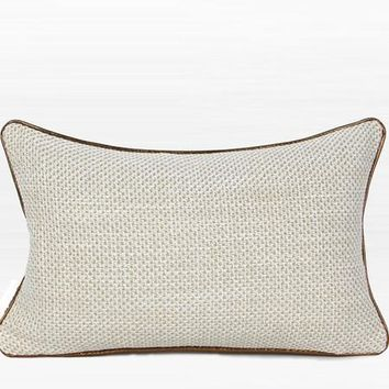 "White with Gold Woven Fabric Solid Color Pillow 12""X20"""