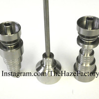NEW Male / Female Universal Grade 2 Titanium Domeless Nail fits 10mm, 14mm , 18mm with Carb Cap Dabber - US Seller
