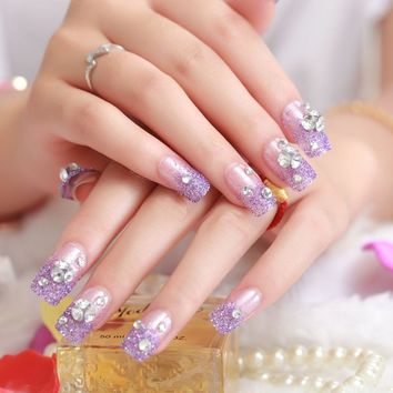24pcs Beautiful bride Fake Nails Sexy Press On Nail Manicure Flash chip Purple powder Z053