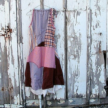 earthy colorblock lagenlook sundress rust rose upcycled fabric orignial design artsy bohemian plaid striped eco clothing small/medium