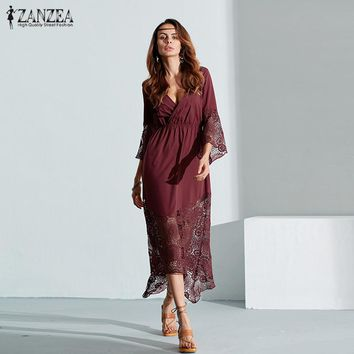 ZANZEA Boho Summer Women Lace Dress 2017 Sexy Lace Patchwork Maxi Long Dress Loose Flare Sleeve Vestidos Plus Size Beach Dresses