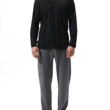 David Archy Men's V-neck Top Cotton Modal Pajama Set(S,Black-Gray)