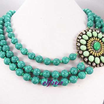 J. Crew Style Inspired Flower Bubble Necklace ,Statement Necklace,bridesmaid gifts, bib necklace/ Turquoise
