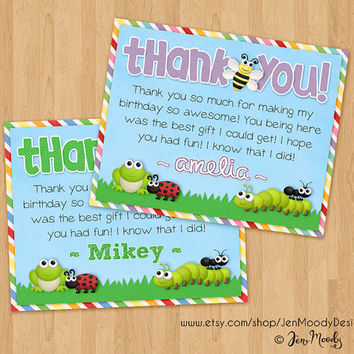 Matching Bugs Thank You Card, Creepy Crawly Birthday Party - Printable, For Boys or Girls, Insects, Magnifying Glass, Backyard