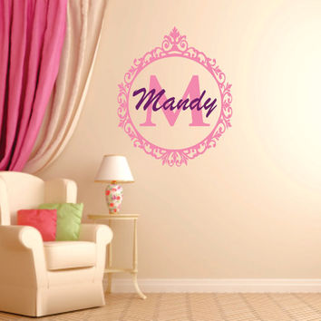 Personalized Name Decal, Shabby Chic Decal, Shabby Chic Decor, Girls Name Decal, Girls Nursery, Vinyl Wall Decal