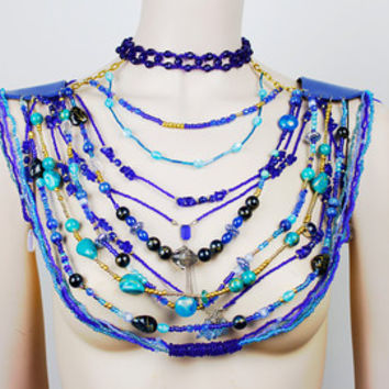Royal blue statement neck piece / Multistrand necklace fit for a queen