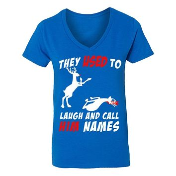 XtraFly Apparel Women's Reindeer Laugh Call Him Names Ugly Christmas V-Neck Short Sleeve T-Shirt