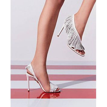 Fashionable sexy fringed hollow white sandals with super high heels