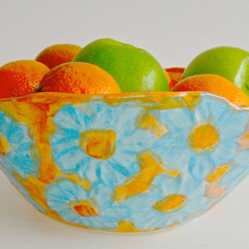 Ceramic bowl, hand painted turquoise and tangerine fruit bowl, with flowers