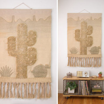 vintage large woven wall hanging / fabric textile hand woven wall art / large wall decor tapestry