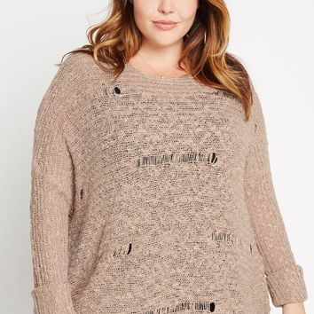 Deal Breaker Distressed Knit Sweater Plus Size