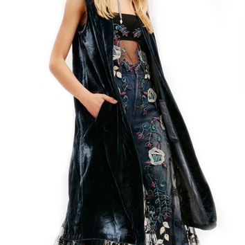 Black Velvet Open Front Back Split Longline Sleeveless Coat