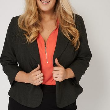 Grey Single Button Blazer With Zipped Pockets
