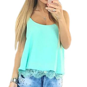2017 summer women chiffon blouse shirt short sleeveless sexy lace chiffon crop top femme beach shirt robe causal plus size gv601