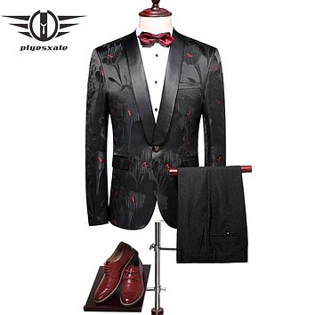 Floral Suits Men Slim Fit Groom Wedding Suit Shawl Collar Tuxedo Jacket Pants Luxury Prom Party Stage Suit