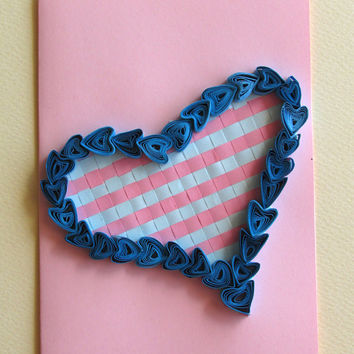 Quilling Card Love Heart, Quilled Valentine's Day Heart, Perfect Romantic Gift, in Pink and Blue