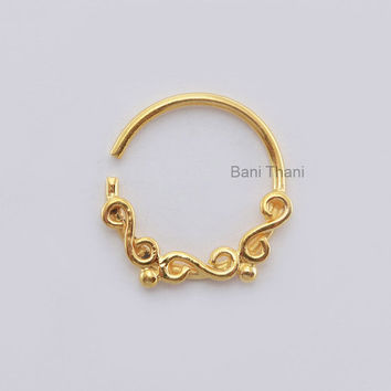 Handmade Gold Plated 925 Sterling Silver Nose Ring, Ethnic Septum Ring, Body Jewelry Nose Hoop, Gypsy - #6727