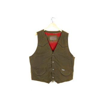 OILSKIN VEST / outback trading / waxed cotton canvas / hunting / outdoors / rustic / rugged / flannel lined / mens large XL