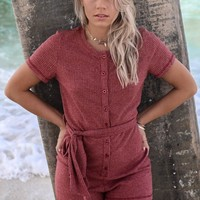 TOBY HEART GINGER - Falling For It Ribbed Red Playsuit