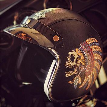 VCOROS 3/4 Open Face Indian Graphic Leather Motorcycle Helmet
