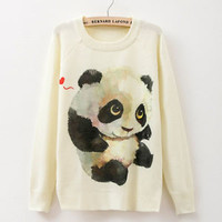 New Fashion Women Long Sleeve Panda Print Sweater Coat Pullover Knitwear Tops