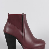 Wild Diva Lounge Elastic Gores Platform Chunky Heeled Booties