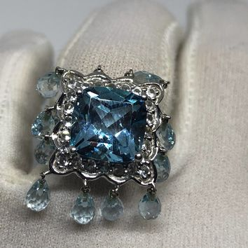 Vintage geniune blue topaz White Sapphire 925 sterling silver Ring