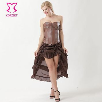 Brown Faux Leather Buckle Zipper Bustier Burlesque Corset Dresses Gothic Clothing Corsets And Bustiers Vintage Steampunk Dress