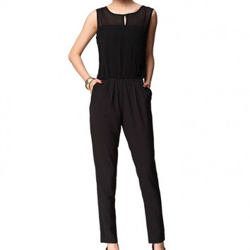 Sexy Elegant Jumpsuit Women Black White Chiffon Overalls Female Sleeveless Sexy Transparent Women Rompers