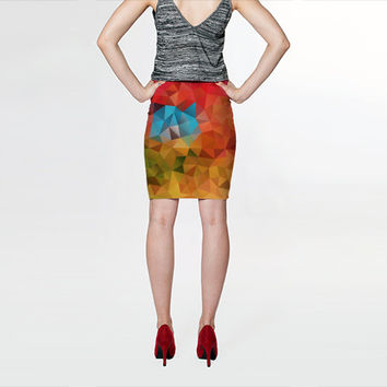 Pencil Skirt, Skirt, Modern Art Skirt, Pattern Skirt, Fitted Skirt, Colorful, Geometric Skirt, Autumn, Yellow, Pink, Red, Blue, Green, L XL
