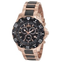 Invicta 1221 Men's II Swiss Two Tone Rose Gold Plated Black Dial Chronograph Watch