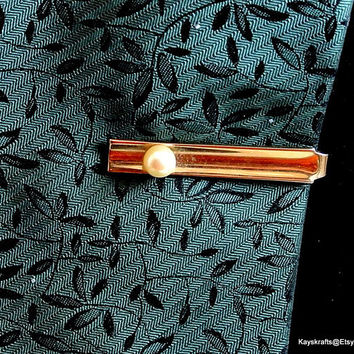 Gold Tone with Faux Pearl Tie Bar Vintage Tie Clasp Pearl Tie Clip Gold Tie Bar Tuxedo Accessory