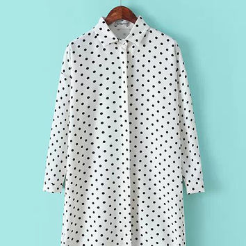 Polka Dot Long Sleeve Shirt Collar Chiffon Blouse