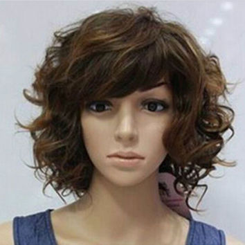 HOT SELL!2015 High quality Fashion Charm Curly Hair Synthetic Wig classic women short hair wigs Popular new Short Fashion brown mix curly Cosplay Wigs W2040