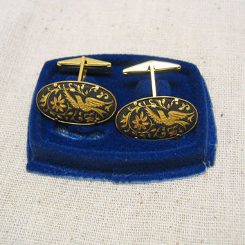 Vintage Long Oval Damascene Enamel Cuff Links - Mint